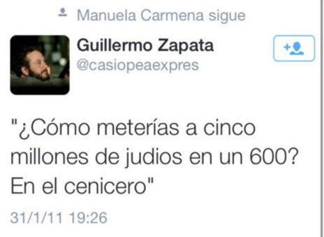 Tuit racista de Guillemo Zapata