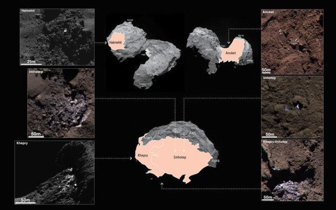 Seis zonas brillantes en el cometa que los científicos creen que...