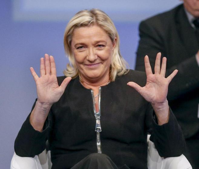 La líder del Frente Nacional, Marine Le Pen, en un congreso en Lyon.