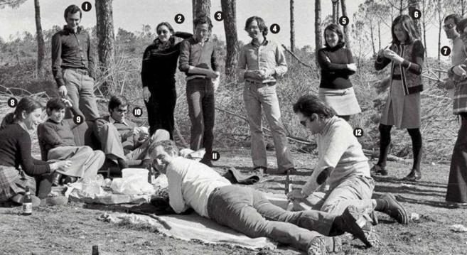El clan de la tortilla, en La Puebla del Río, en 1974. La foto se...