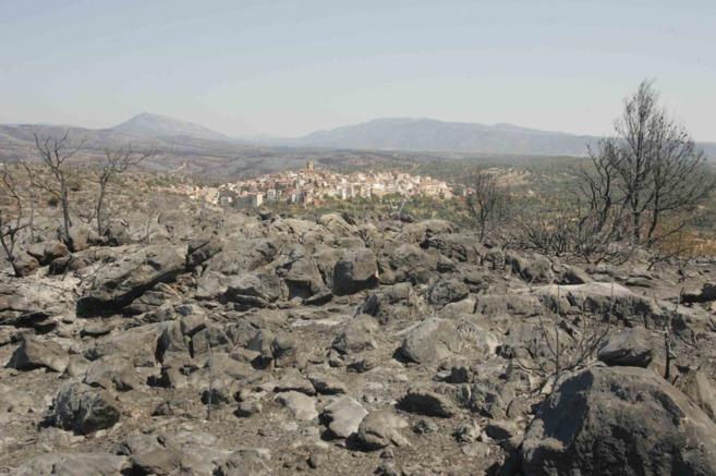 El incendio forestal se declaró en la comarca castellonense de...