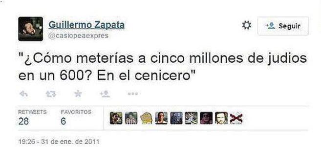 Tuit del concejal Guillermo Zapata.