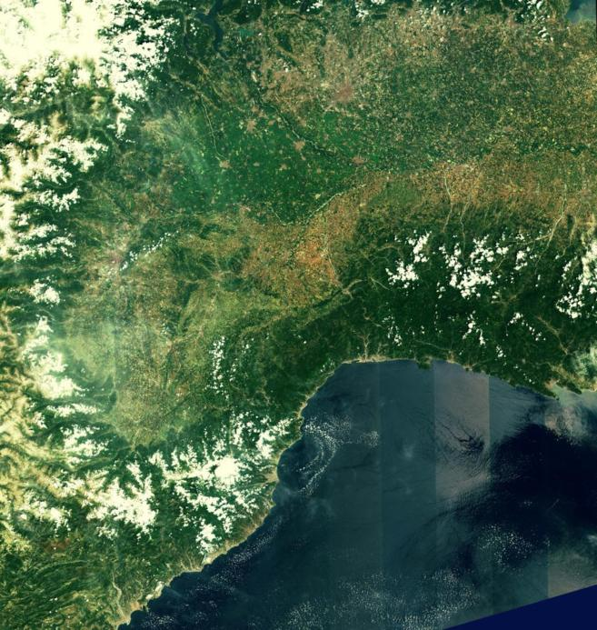 La costa del norte de Italia y el sur de Francia, captada por Sentinel...
