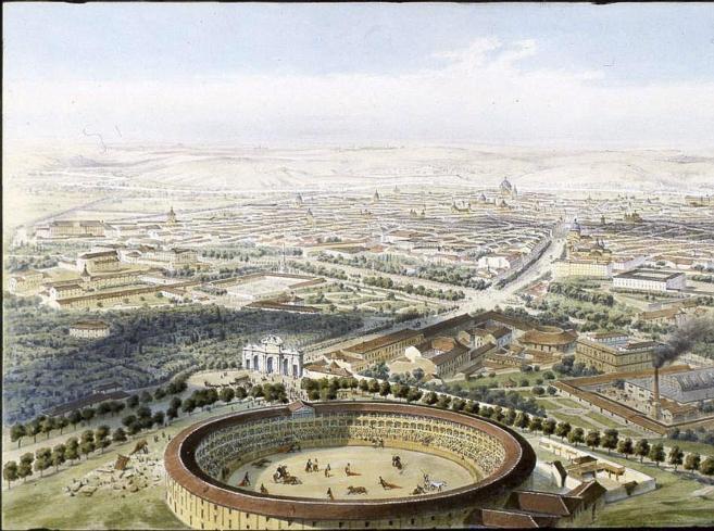 Litografía del siglo XIX en la que aparece la antigua plaza de toros,...