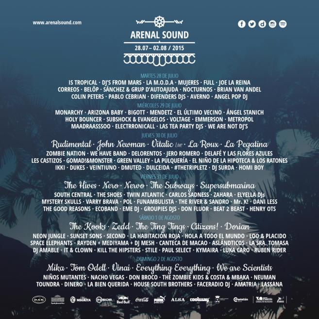 El cartel con los artistas que actuarán en el Arenal Sound