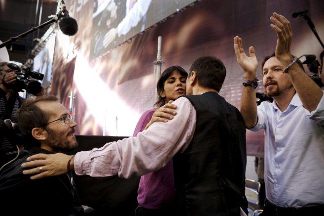 Pablo Iglesias, Pablo Echenique, Monedero y Teresa Rodríguez en un...