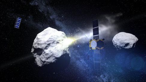 Recreación de la futura misión AIDA en el asteroide binario Didymos.