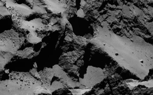 Uno de los pozos captados por Rosetta en el cometa 'Chury'.