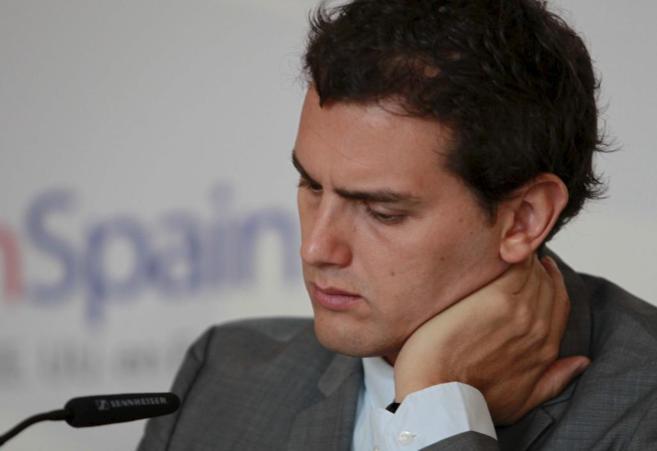 Albert Rivera, en el desayuno celebrado esta mañana en Madrid.