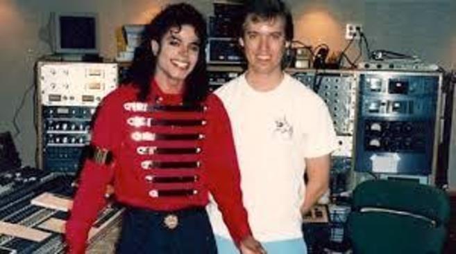 Michael Jackson y Brad Sundberg durante una grabación.