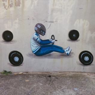 'Graffiti' de Escif en la frontera de la Font de la Pólvora...