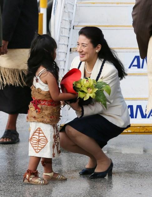 Masako, esta mañana a su llegada a Tonga.