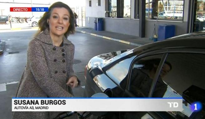 La periodista Susana Burgos durante un informativo.