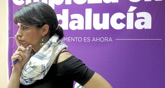 Teresa Rodríguez, en la sede de Podemos en Sevilla.
