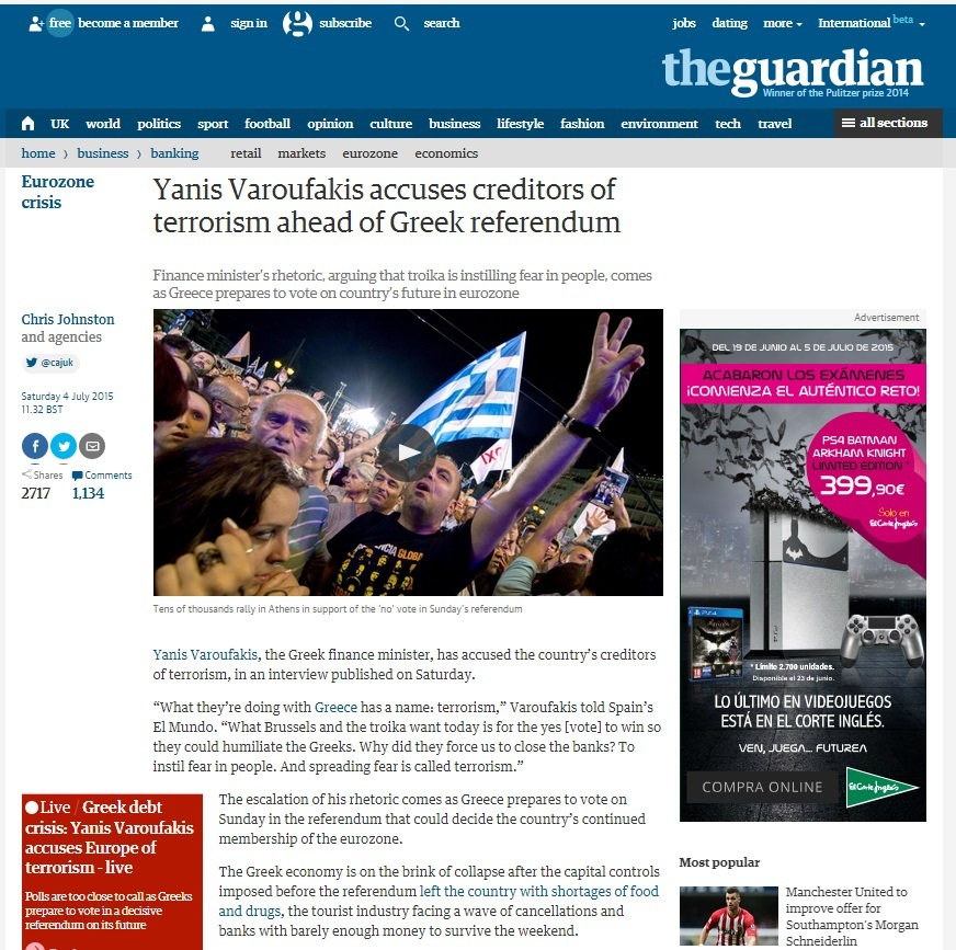 The Guardian titula que Yanis Varoufakis acusa de terrorismo a los...