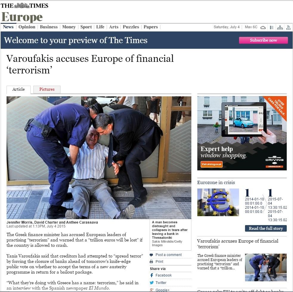 The Times incide en su titular en que Varufakis acusa a Europa de...