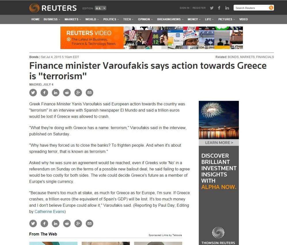 Reuters: 'El ministro de Finanzas Varufakis dice que las acciones...