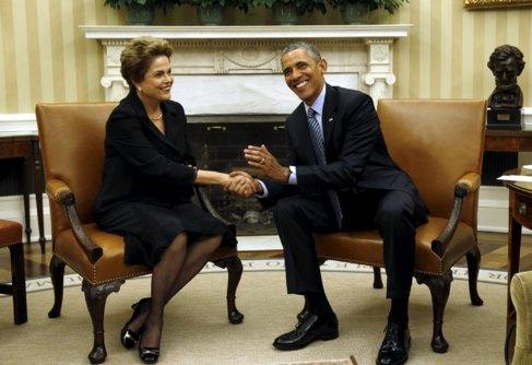La presidenta Dilma Rousseff y su homólogo Barack Obama, en...