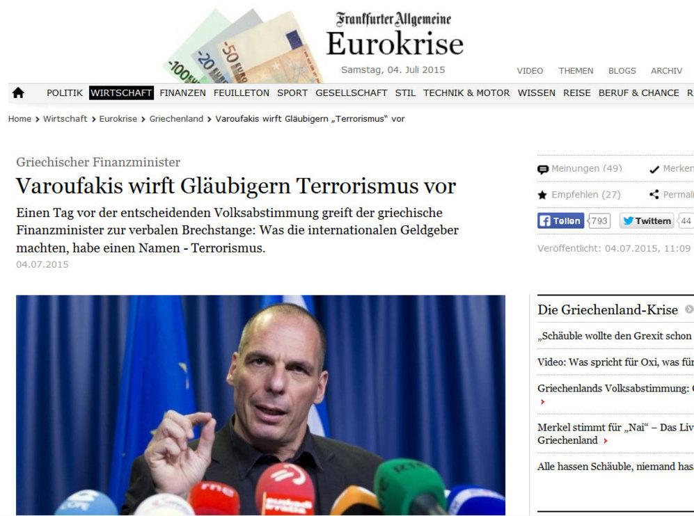 Frankfurter hace hincapié en las palabras textuales de Varufakis: 'Lo...