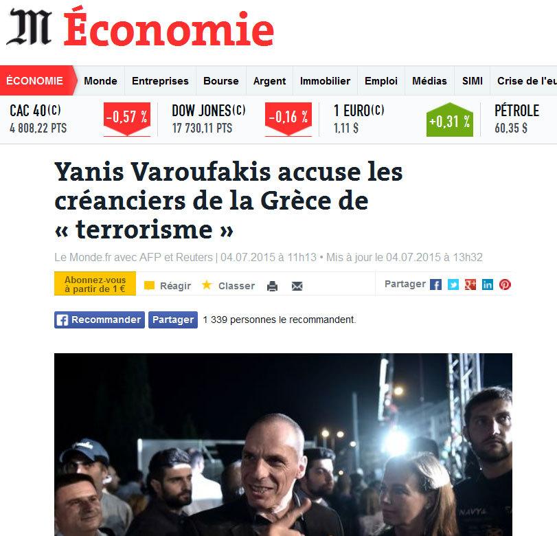 El diario francés Le Monde resalta la acusación de 'terrorismo'...