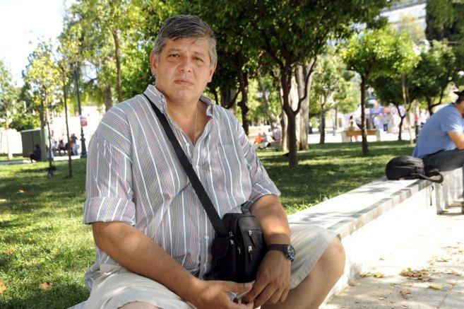 Lambros Moustakis, el sábado, en un parque de Atenas.