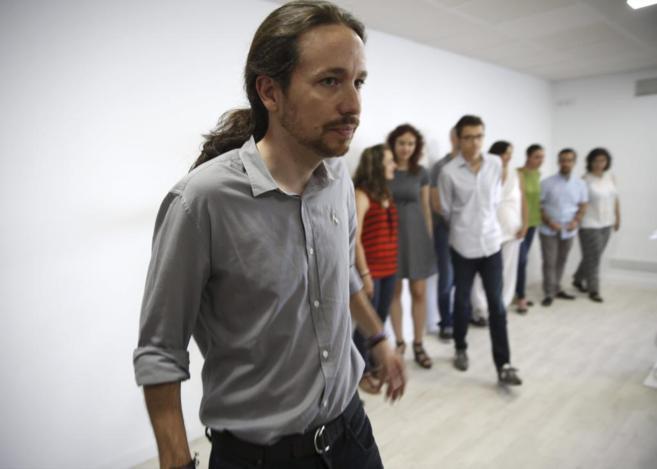 Pablo Iglesias, en la rueda de prensa celebrada en Madrid.