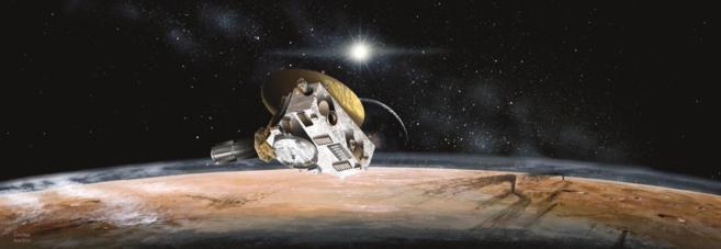 Recreación artística de la sonda New Horizons acercándose a...