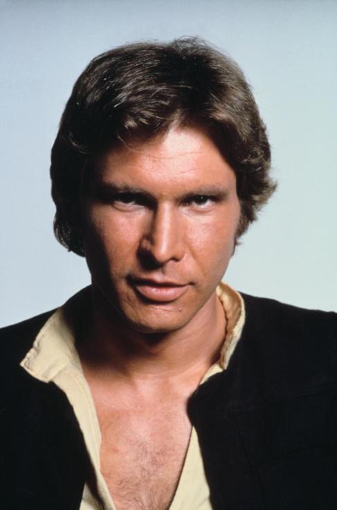 El actor Harrison Ford, caracterizado como Han Solo.
