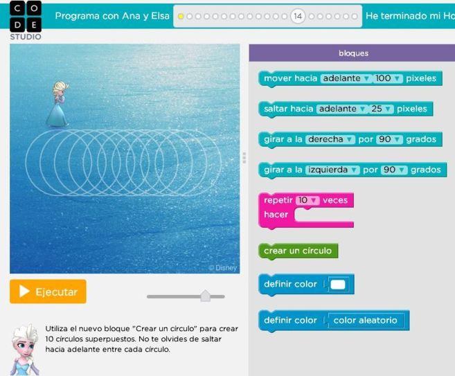Aprender a programar con Ana y Elsa de Frozen en Code.org.