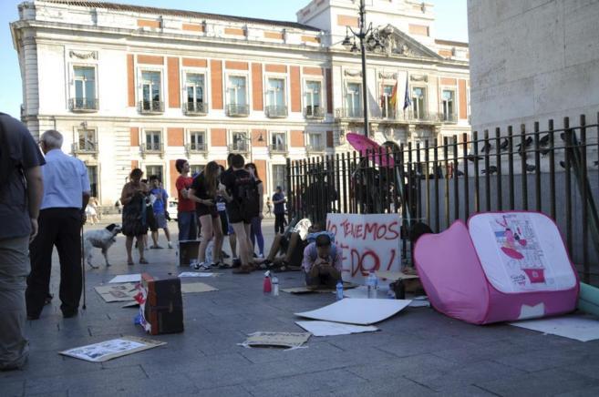 Acampada contra la Ley Mordaza en la Puerta del Sol.