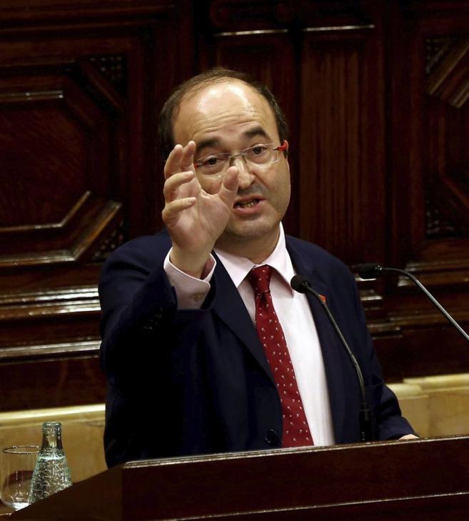 El líder del PSC, Miquel Iceta, durante una intervención en el...