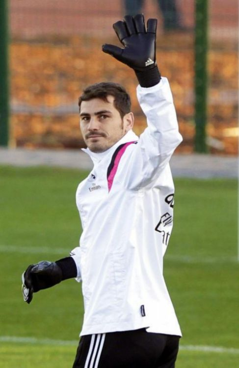 Casillas, en un entrenamiento del Real Madrid en 2014.