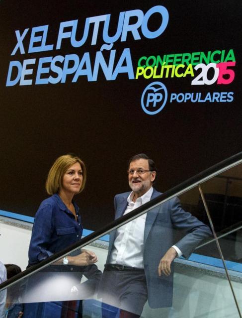 Cospedal y Rajoy, antes de la clausura de la Conferencia.