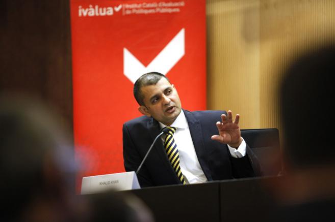 El británico Khalid Khan durante la presentación del programa en el...