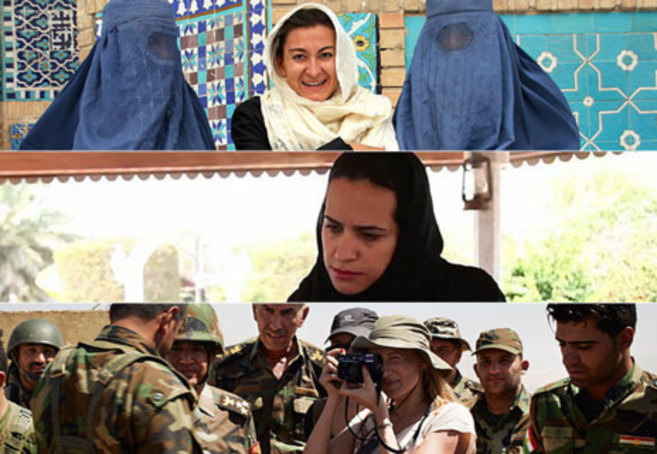 De arriba a abajo: Lynsey Addario en Afganistán, La periodista de...