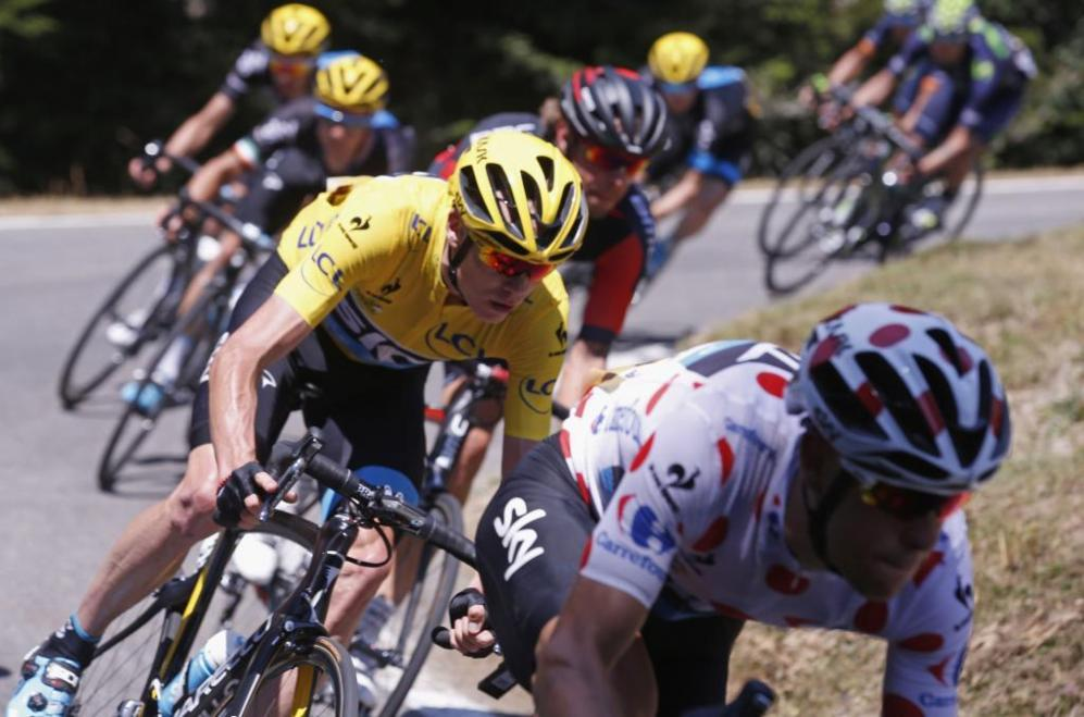 Chris Froome, en la bajada del Tourmalet.