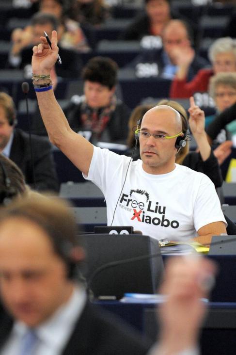 Raül Romeva, durante una votación en Estrasburgo en 2010.
