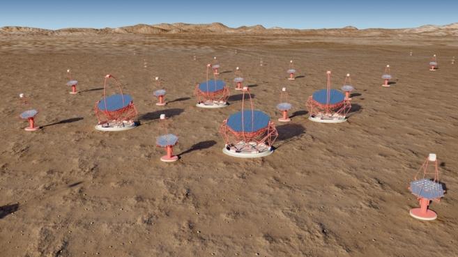 Recreación de una red de telescopios de rayos gamma.