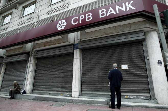 Un banco cerrado en Atenas