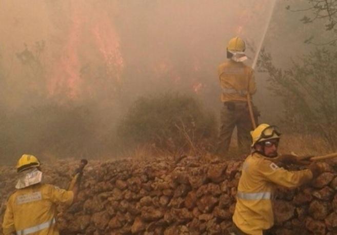 Tres bomberos en plenas tareas de extinción al frente del fuego esta...