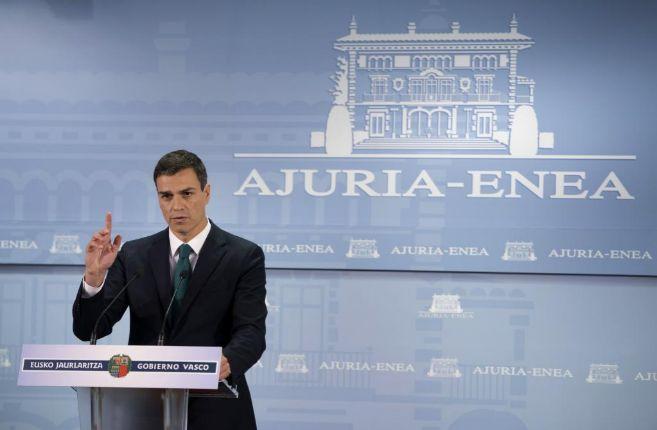 Pedro Sánchez tras la reunión que ha mantenido con el lehendakari