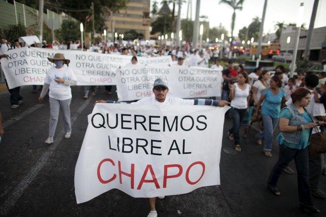Manifestaciones a favor de El Chapo.