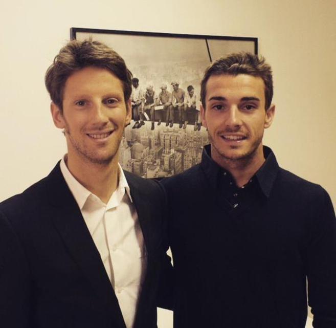 Romain Grosjean subió esta foto a Twitter junto a Bianchi