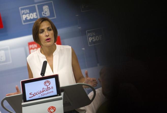 María Chivite este sábado durante su intervención en Pamplona.