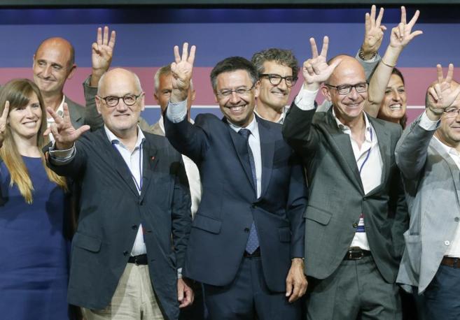 Bartomeu, con los miembros de su candidatura.
