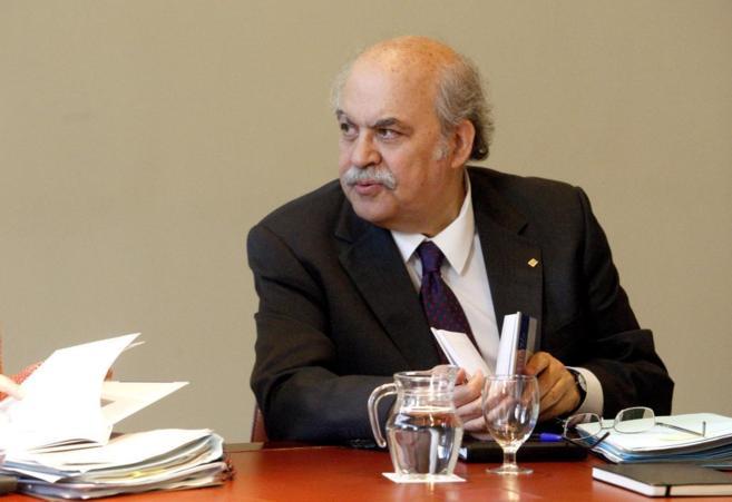 Andreu Mas Colell en la reunión de Govern en el Palau de Generalitat.
