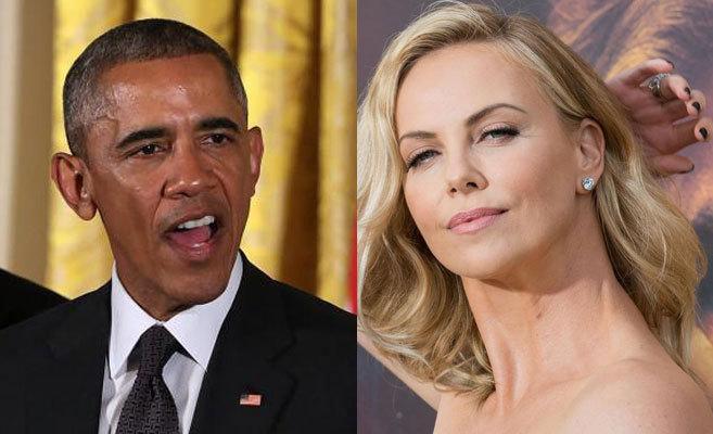 Izda., Barack Obama. Dcha., Charlize Teron.