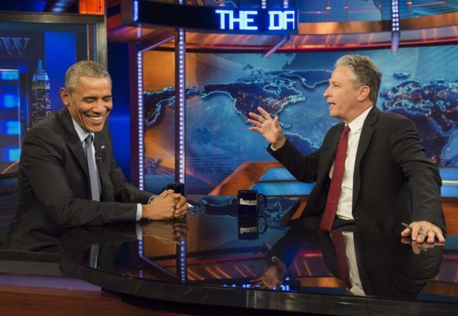 Baracak Obama durante la grabación del programa de John Stewart.