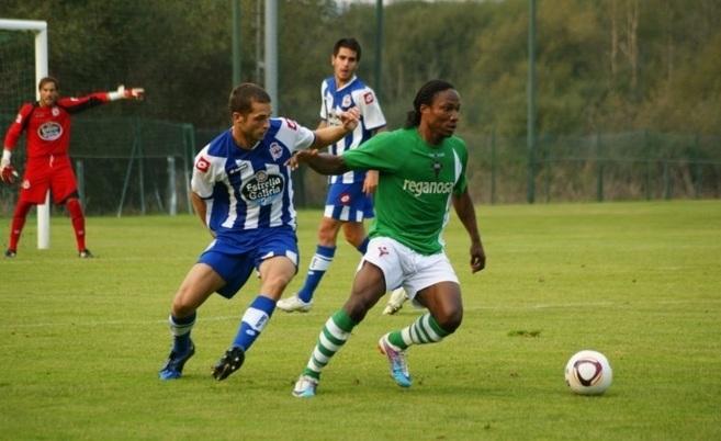 Adrià Gallego, en un partido con el Deportivo.