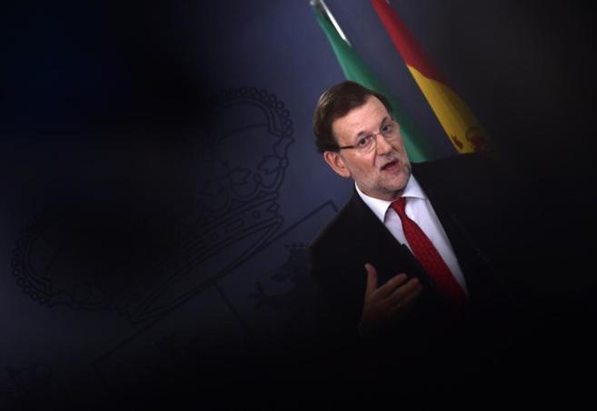 Mariano Rajoy el martes durante la rueda de prensa ofrecida con el...